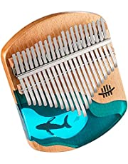 $34 » BeatRise Kalimba Ocean Blue Thumb Piano with Tuning Hammer and Lessons Instruction Portable Finger Piano Musical Instrument Gift for Kids Adult Beginners Professional (Beech Wood + Resin)