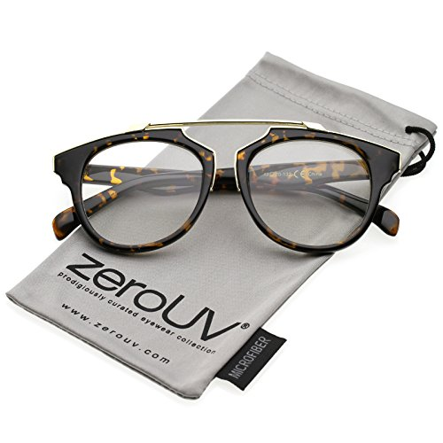 zeroUV - Modern Metal Brow Bar Horn Rimmed Round Clear Lens Aviator Eyeglasses 50mm (Tortoise-Gold/Clear) ()