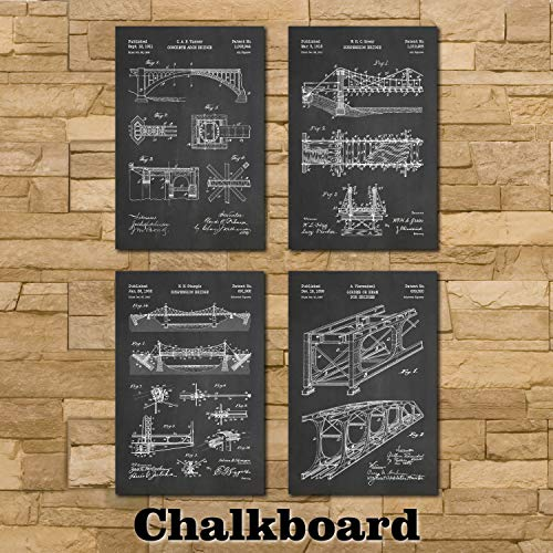 (Bridge Art Patent Prints Set of 4 (multiples sizes and colors available))