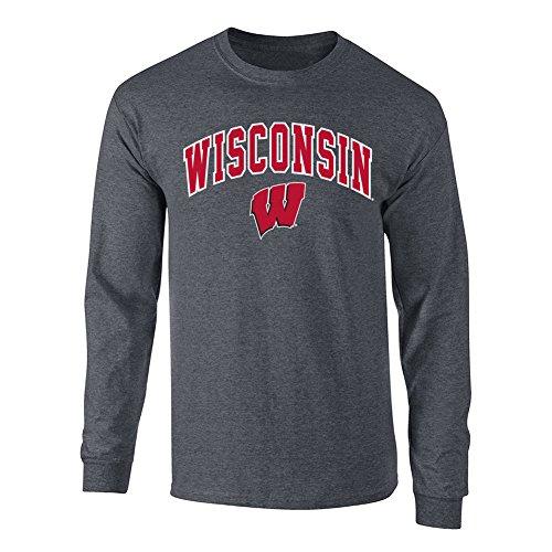 (Elite Fan Shop NCAA Men's Wisconsin Badgers Long Sleeve Shirt Dark Heather Arch Wisconsin Badgers Dark Heather Medium)