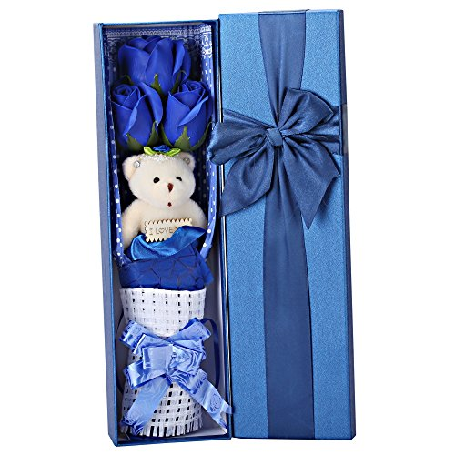 Creative Romantic Blue Flower Bouquet 3 Scented Roses Bath Soap Gift Box With Cute Teddy Bear Birthday Best Anniversary Birthday Mother's Day Valentine's Present - Agate Bear Teddy