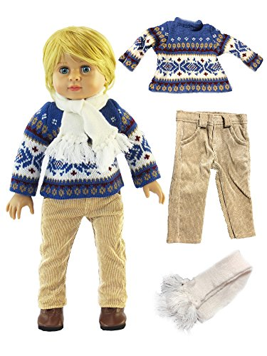 """Blue Knit Sweater Pant Set with Scarf-Fits 18"""" American Girl Dolls, Madame Alexander, Our Generation, etc. 