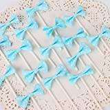 [Pack of 18] Children's Birthday Baby Shower Party Bow Dots Cupcake Toppers Cake Decoration Supplies - Blue