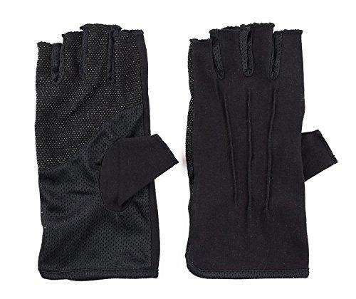 Breathable Cool Fingerless Gloves UV Lightweight Fingerless Gloves Driving Fingerless Gloves, One Size, Black