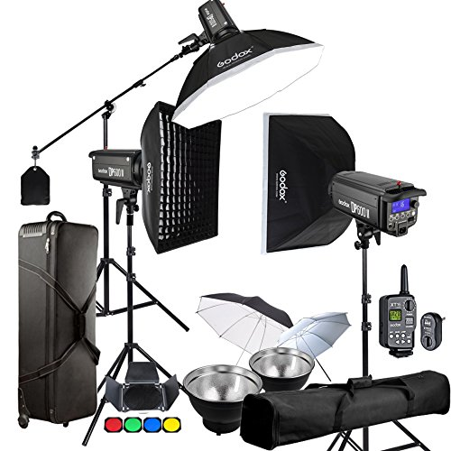 Godox DP600II 3 x 600Ws GN80 5600K 2.4G Strobe Flash with XT-16 Wireless Trigger Kits for Studio Photography Lighting - Light Stand, Softbox, Umbrella, Carrying Case