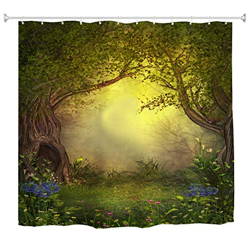 Mystic Forest Tree Shower Curtain Fabric,Enchanted Misty Mystical Forest Romantic Fantasy Nature Landscape with Flower Green Jungle Print,Fabric Waterproof Bathroom Decor with Hooks,72x72 inch ()