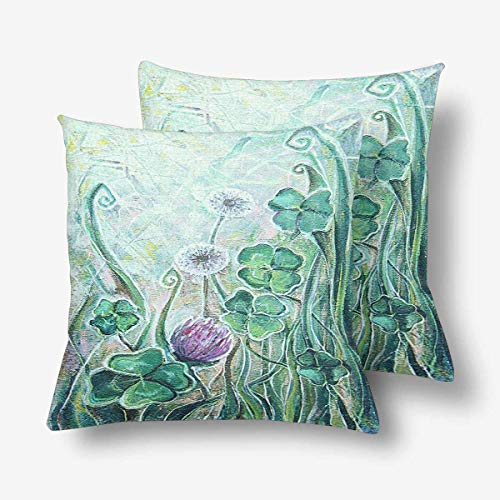 (Royalreal Clover Dandelion Spring Blooming Meadow Plant Floral Throw Pillow Cover Decorative Durable Cushion Cover Set of 2 24x24inch Soft Linen Pillowcase for Sofa Couch Bedroom)