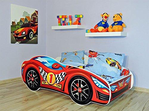 KAGU Autobett Kinderbett Juniorbett 160x80cm Rot inkl. Matratze u. Wandboard