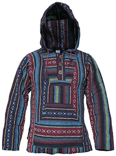 capucha diseño Mix Little Kathhmandu estilo algodón Baja Red con rayas multicolor a étnico Sudadera de 5x4A0wF6q