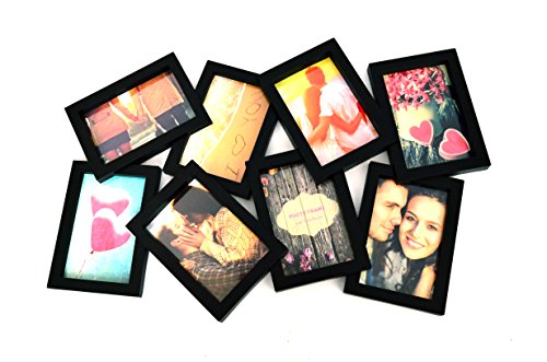 bestbuy frames puzzle style collage picture frame with 8 openings for standard photos black - Collage Photo Frames