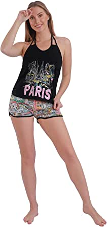 Habiba Cotton Halter-Neck Top with Printed Shorts Pajama Set for Women