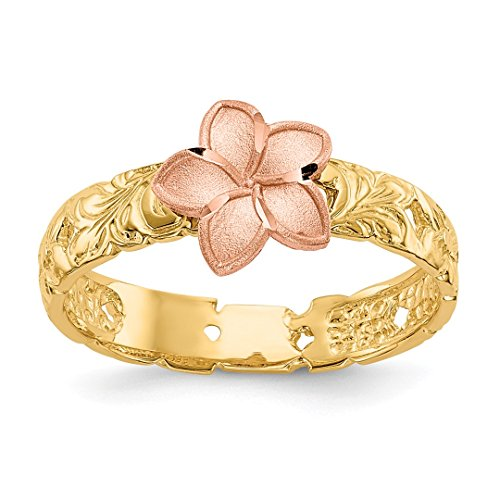 Price comparison product image ICE CARATS 14kt Two Tone Yellow Gold Plumeria Baby Band Ring Size 3.00 Flowers / leaf Fine Jewelry Ideal Gifts For Women Gift Set From Heart