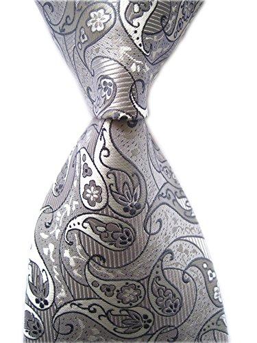 Secdtie Men's Striped Paisley Silver Grey Jacquard Woven Silk Tie Necktie - Silver Grey Tie