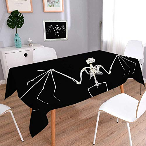 tive Jacquard Rectangle Tablecloth Skeleton of a Fruit bat Often Called Flying Fox Resistant and Waterproof Tablecloths/Rectangle, 70 x 120 Inch ()