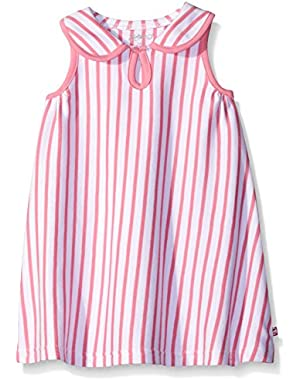 Girls' Hot Pink Breton Stripe Keyhole Collar Dress