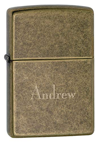 Personalized Zippo Antique Brass Lighter with Free Engraving