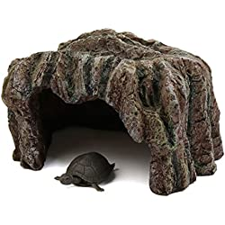 uxcell Brown Resin Reptile Turtle House Cave Hiding Spot Habitat Ornament for Aquarium