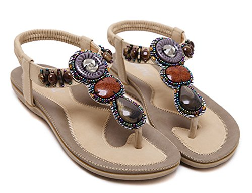 apricot Elastic Throng Aisun Women's Sandals Retro Split Toe Shoes q8q14H
