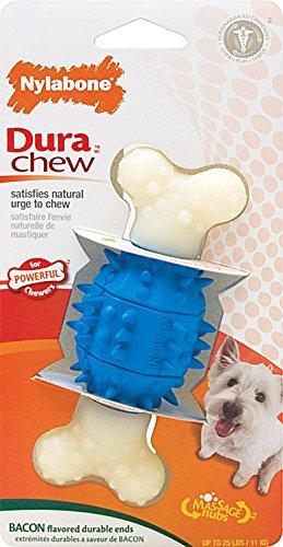 Nylabone Dura Chew Regular Bacon Flavored Double Action Dental Spiky Bone Dog Chew - Dura Double Bone Chew