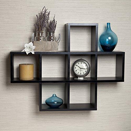 cubby laminated black veneer display wall shelf black modern metal hanging office cubicle