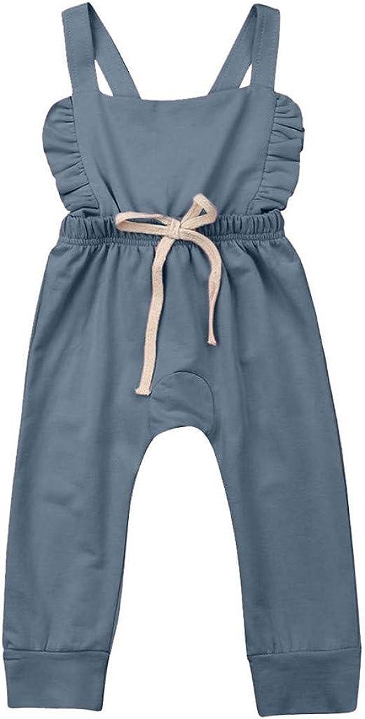 Womola Baby Girl Romper Solid Ruffled Strap Jumpsuit Summer Sleeveless Halter Bodysuit Onesie for Toddler Infant Girl