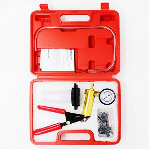 HTOMT 2 in 1 Brake Bleeder Kit Hand held Vacuum Pump Test Tuner Tool Set With Sponge Protected Case,Vehicle Vacuum Gauge Automotive Tools
