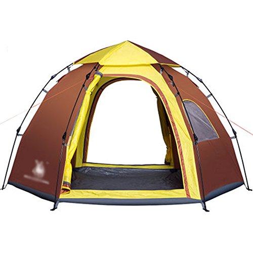 アノイパーセントチャンバーマ?チョン テント アウトドアテント六角形の自動テント油圧スプリングキャンプシングル4-5人のビッグテントを構築する無料
