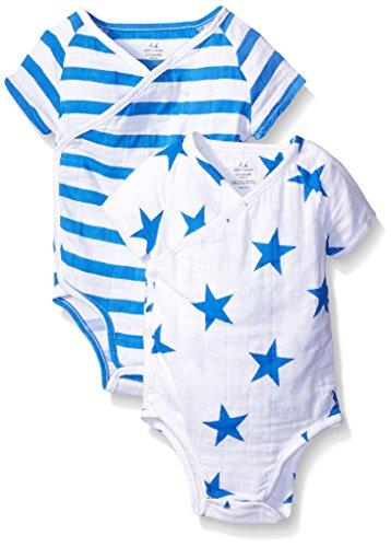 aden + anais Baby Short Sleeve Kimono Body Suit Two Pack, Ultramarine Blazer Stripe/Star, 3-6 Months