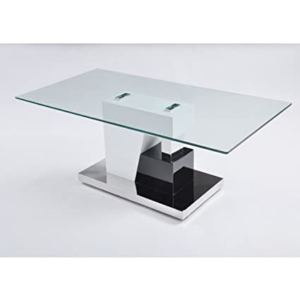 Amazoncom Kira Living Modern Glossy Black And White Coffee Table - Glossy black coffee table