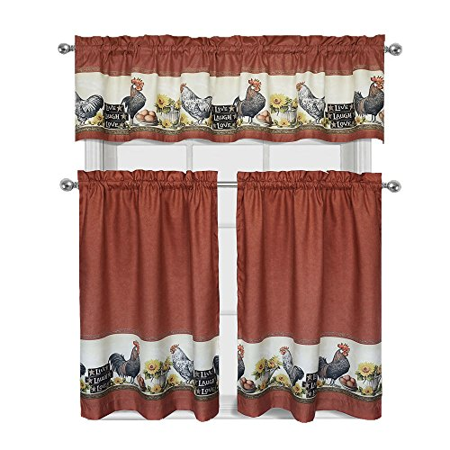 GoodGram Roosters & Sunflowers Live~Laugh~Love Complete 3 Pc. Kitchen Curtain Tier & Valance Set
