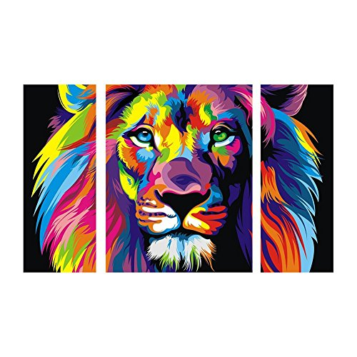 Awakingdemi 5D DIY Full Diamond Painting Colorful Lion Embroidery Paint Cross Stitch Craft for Wall Decoration Home Decor 31X18inch