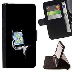 Momo Phone Case / Flip Funda de Cuero Case Cover - Enganche Negro Mapa de la historieta - LG Nexus 5 D820 D821
