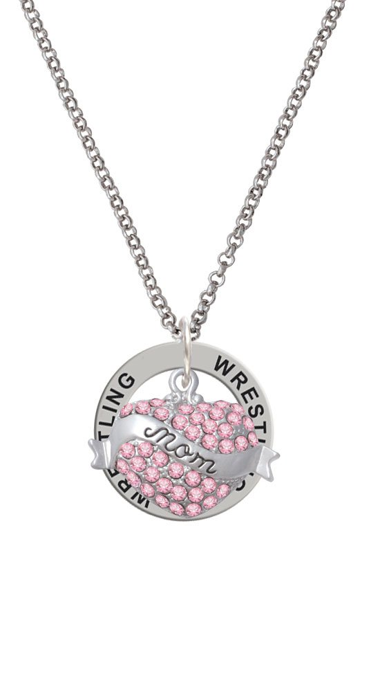 Mom Banner on Pink Crystal Heart - Wrestling Affirmation Ring Necklace by Delight Jewelry