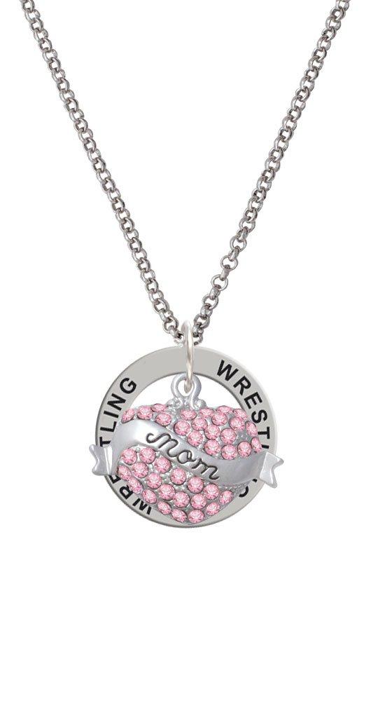 Mom Banner on Pink Crystal Heart - Wrestling Affirmation Ring Necklace
