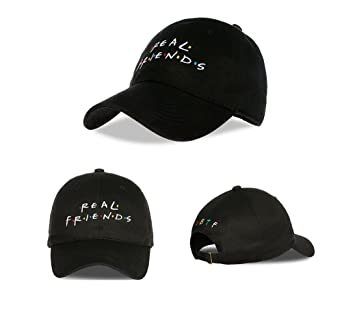 e18cbfd02fe Himozoo REAL FRIENDS Embroidered Cotton Adjustable Baseball Hat Hop-pop Cap  (Black)  Amazon.in  Clothing   Accessories