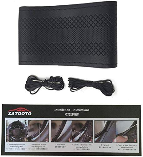 Stitch Diy Steering Wheel Cover - Universal Auto 15 inch Black Microfiber Leather Car Sew On Wrap Soft Anti-Slip for Women Men