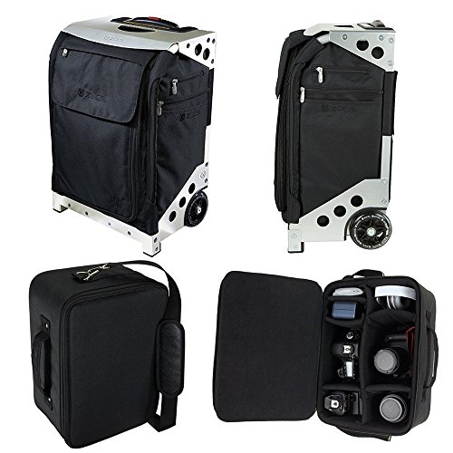 Zuca Photo Flyer: Black Carry-On Bag in Silver Frame with Built-In Seat, With Padded Removable Photo/Tech Insert Case for Canon, Nikon, Sony, Olympus DSLR Cameras by ZUCA
