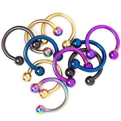 """Wholesale Lot of 10 Anodized Titanium Over Surgical Steel 16 Gauge-5/16""""(8mm) Horseshoe Circular Barbells - Perfect for Septum, Rook, Tragus, Daith, Nose,ear,nipple Piercings By Eg Gifts"""