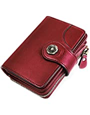 HOMPO Women's Small Wallets RFID Blocking Leather Wallet With Zipper Coin Pocket Bifold Mini Purse with ID Window (Red)