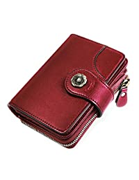HOMPO Women's Small Wallets RFID Blocking Leather Wallet With Zipper Coin Bifold Pocket Wallet Mini Purse with ID Window Red