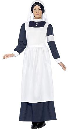 8f056797f8f3b Ladies Wartime Nurse Florence Nightingale Victorian WW1 Fancy Dress Costume  Outfit 12-22 Plus Size  Amazon.co.uk  Clothing