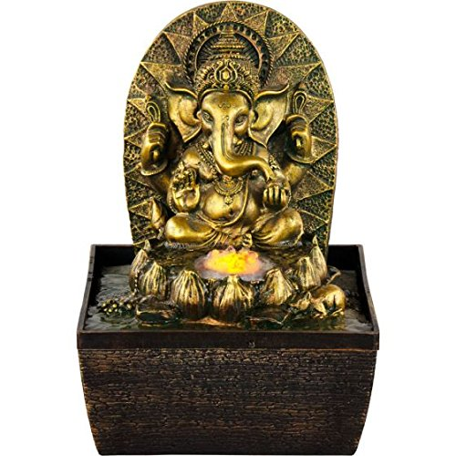 New Age Source Water Fountain Gold Ganesha Yellow Light