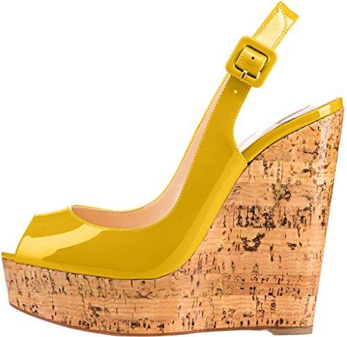 Trusify Mujer 12cm EU tamaño 34-46 Truabandon Tacón ancho 12CM Sintético Sandalias de vestir Gold