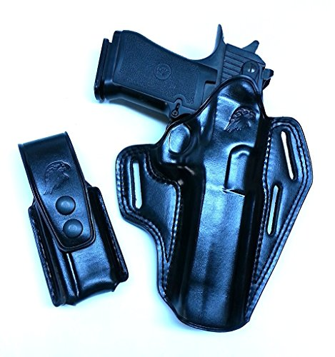 LEATHER PANCAKE (OWB) HOLSTER INCLUDING SINGLE MAG POUCH FOR DESERT EAGLE, FITS ALL CALIBARS WITH 6'' BBL R/H DRAW BLACK COLOR