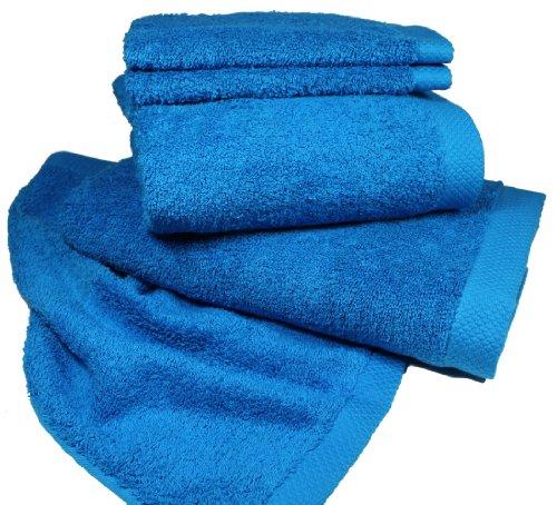 lingorama - 550 g/m² 100% algodón turquesa Plain Tejido de rizo toalla de ducha 70 x 140: Amazon.es: Hogar