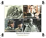 Sherlock Holmes stamps for stamp collecting - Classic Sherlock Holmes films. 4 mint stamps on an never hinged stamp sheet - never mounted