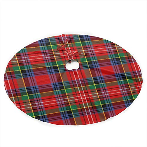 "35.5"" Christmas Tree Skirt - Scottish Plaid In Classic Colors Pattern Xmas Tree Skirt Party Holiday Decorations"