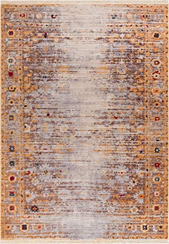 Well Woven Naomi Modern Vintage Distressed Gold 5 3 x 7 7 Area Rug