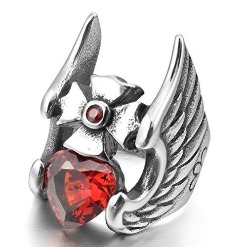 MunkiMix Acier Inoxydable Anneau Bague Zircon CZ Oxyde de Zirconium Argent Rouge Croix Coeur Cœur Ange Aile Rétro Homme