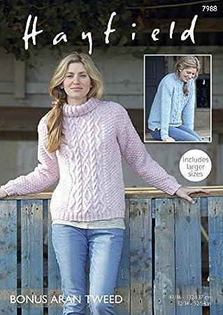 Amazon Hayfield Ladies Sweaters Bonus Knitting Pattern 7988